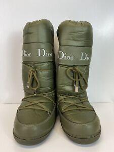 Rare Vtg Christian Dior Green Logo Moon Boots 38-40