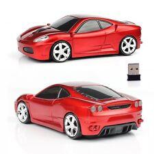 2.4GHz Wireless 3D 1600DPI F430 Ferrari  Car Shape Optical Usb Mouse in Red UK
