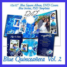 Photoshop Quinceañera Templates  Photo Book ,DVD Covers Blue PSD