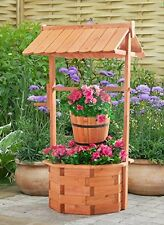 Outdoor Wooden Decoration Wishing Well Decor Garden Yard Flowers Plants Water