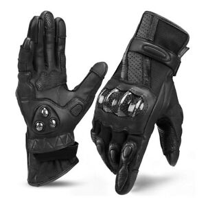 Motorbike Gloves Real Leather ,Carbon Fiber Armored Knuckle Shell Touch Screen