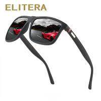 ELITERA Square Polarized Sunglasses For Men TR90 Frame Driving Sun Glasses Male