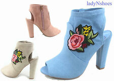 NEW Women's Faux Suede Open Toe Floral Chunky Heel Booties Shoes Size 6 - 11