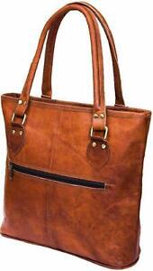Women's Genuine Vintage Brown Leather Shoulder Tote Handbag Purse Satchel Bag