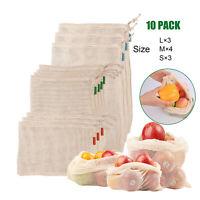 10X Reusable Cotton Produce Mesh Bags Vegetable Fruit Toys Storage Pouch Bag Hot