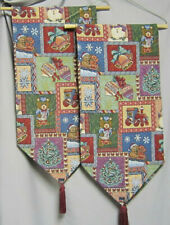 Two 53 x 12 Tapestry Style Christmas Table Runners with Tassels