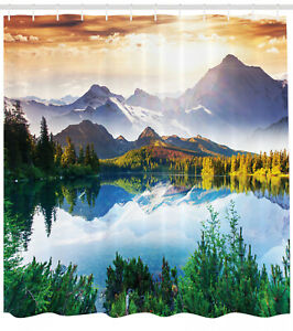 Nature Shower Curtain Winter Mountain Sun Rise Print for Bathroom 70 Inches Long