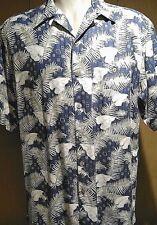 WtF Silk Hawaiian Large Aloha Tropical Palm Button Front Short Sleeve Blue Beige