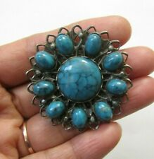 Vintage Silver Tone & Faux Turquoise Pin Brooch Jewelry