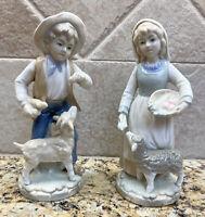 Vtg Peasant man & woman Farmers Figurines 82850 ESTHER Fine China JAPAN