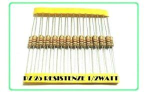 PZ 25 Resistenza 1K 1000 Ohm 1/2W Watt 5% STRATO CARBONE A FILO ASSIALE