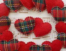 "100! Lovely Padded Hearts - Red Tartan & Deep Red Felt Applique Heart 24mm/0.9"""