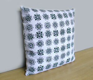 Cotton Cushion Cover 100% Block Printed Green White Floral Pillow Cover Throw