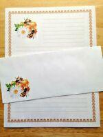 Honey Bee Stationery Writing Set 12 Sheets 6 Envelopes - Lined Stationary