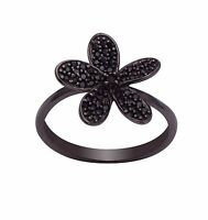 Round Black Spinel Stone 925 Silver Cluster Statement Women Wedding Promise Ring