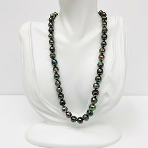 Tahitian Pearl Necklace Strand 8-10mm Circled Baroque Peacock Aubergine S/Silver