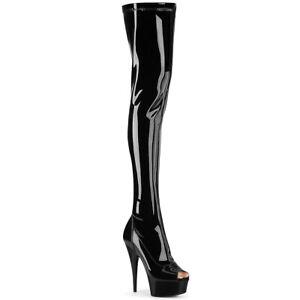 "Pleaser 6"" black peep toe thigh high boots"