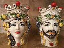 Coppia teste di moro Siciliane Vaso in ceramica di Caltagirone H29 Cm