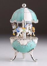 Easter Egg Horse Carousel Trinket Box by Keren Kopal music box w/ crystal