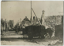 WWI British Army Foto Schlacht von CAMBRAI Mark IV Tank Panzer Corps Ruinen 1917