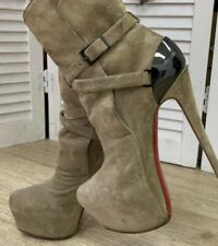 CHRISTIAN LOUBOUTIN GREY SUEDE and Metal Equestria 160 Platform Ankle Boots 38