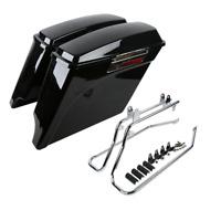 Vivid Black Saddlebags Chrome Conversion Bracket Fit For Harley Softail 84-16