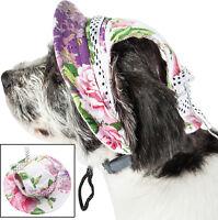 Pet Life 'Botanic Bark' UV Protectant Adjustable Fashion Brimmed Pet Dog Hat Cap