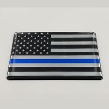 "USA Thin Blue Line Flag Raised Clear Domed Lens Decal 3""x 2"""