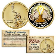 American Innovation NEW JERSEY 2019 Statehood $1 Dollar COLORIZED UNC Coin COA
