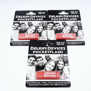 3X Delkin Devices Pocketflash 32GB USB 3.0 Flash Drives.   DR6156