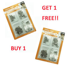 100pk Safety Pins Durable EXTRA STRONG Assorted Sizes Silver Sewing Arts Crafts