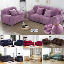 Velvet Plush Sofa Cover Elastic Stretch Furniture Couch Slipcover for 4 Seaters