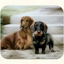 MOUSE PAD--Smooth DACHSHUNDS on Porch-Polyester Front Neoprene Back**Beautiful**