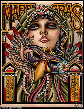 Mardi Gras Poster/ 2014 New Orleans/11x14 inches/Lady with Mask by Paul Dobleman