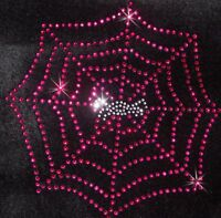 SPIDER WEB PINK iron-on RHINESTONE BEAD TSHIRT TRANSFER