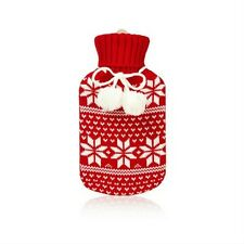 NPW Huggable Hotties FAIR ISLE HOT WATER BOTTLE w/ sweater red/white size 750ml
