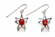 STUNNING LADIES  SILVER STAR/RED/BEAD EARRING UNIQUE SUMMER WEAR(ZX12)