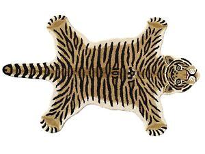 Indian Handmade Tufted 100% Woolen Tiger Skin Shape Carpet Rug Mat Brown 3'x5'Ft