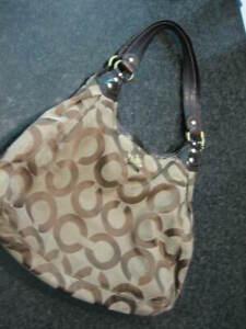 COACH Brown LOGO Medium Size Shoulder Bag with Patent Trim