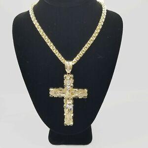 "Mens 10k Yellow Gold Cross Charm Diamond Cut Pendant Byzantine Chain in 24"" Real"