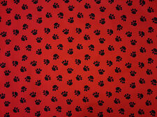 PU COATED PAW PRINT RED C70 WATER REPELLENT SHOWERPROOF FABRIC DOG BEDS COATS