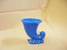 "SMALL 3"" BLUE PORCELAIN MILKY BLUE ART GLASS CORNUCOPIA VASE"