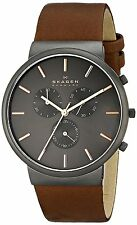 Skagen SKW6106 Men's Ancher Leather Band Charcoal Black Dial Chronograph Watch