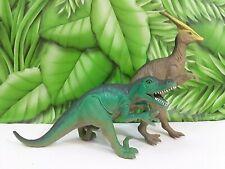 2 Plastic Toy Figure Prehistoric Dinosaurs Allosaurus & Parasaurolophus Green