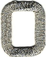 """1"""" Tall Bright Metallic Silver Monogram Block letter O Embroidery Patch"""