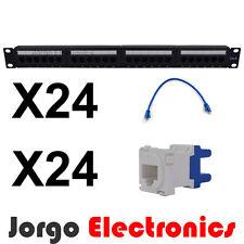 """19"""" CAT6 24 Port Patch panel & 24 CAT6 Patch Cables (0.25m) 24 CAT6 RJ45 Inserts"""
