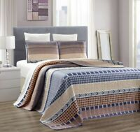 King/Cal King Size Blue Beige Taupe Abstract Quilt Reversible Coverlet Bedspread
