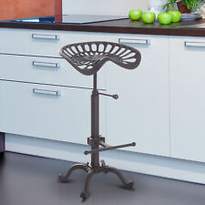Homcom Industrial Style Tractor Adjustable Bar Stool in Cast Iron