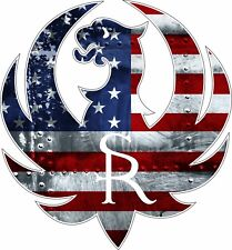 Ruger with American USA Flag Gun Rights Tool Box Bumper Sticker Vinyl Decal
