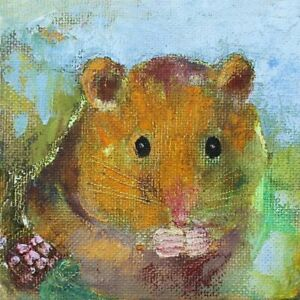 HAMSTER Birthday Card - BLANK INSIDE - 14.5 x 14.5 cms - Jane Faires Art